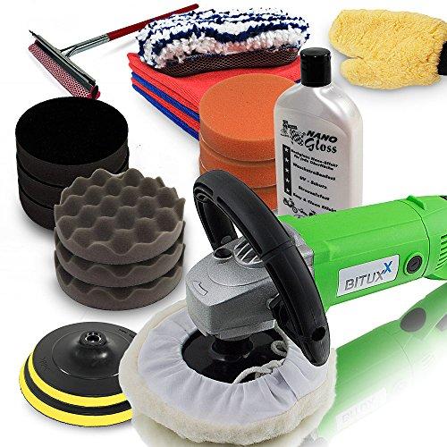 BITUXX-Sparset-Poliermaschine-1500-Watt-Schleifmaschine-Autopolierer-Poliergert-Autopflege-KFZ-Pflege-Autolackaufbereitung