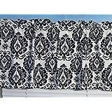 Handmade 100% Cotton Black White Damask Window Curtain Valance