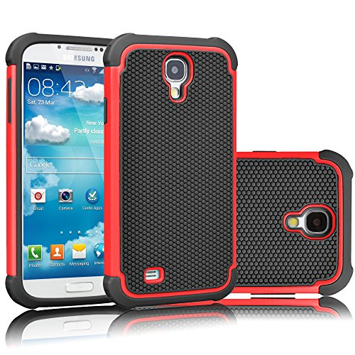 Galaxy S4 Case, Tekcoo(TM) [Tmajor Series] [Red/Black] Shock Absorbing Hybrid Rubber Plastic Impact Defender Rugged Slim Hard Case Cover Shell For Samsung Galaxy S4 S IV I9500 GS4 All Carriers (Samsung S4 Mini Case Red compare prices)