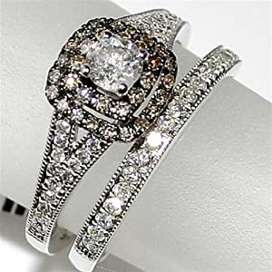 Cognac and White Diamond Bridal Wedding set .75ct 14K White Gold 2 piece