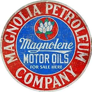 Vintage Looking Magnolia Petroleum Company Motor Oil Sign Garage Art