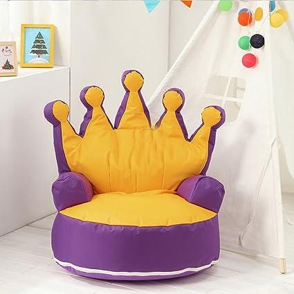 Doni creativi Mobili tessuto Figli Divano Princess Princess pigro Bean Bags bambino mobili divano ( colore : Yellow+Purple )