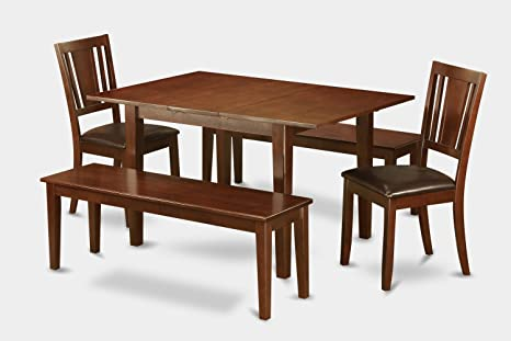 East West Furniture PSDU5D-MAH-W 5-Piece Kitchen Table Set