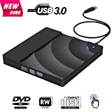 External CD Drive, BOSLISA USB 3.0 CD/DVD-RW Drive, CD-RW Rewriter Burner Optical DVD Superdrive High Speed Data Transfer for Laptop Macbook Desktop Computer Support Windows10/8/7/XP/Mac OS X (Color: Black, Tamaño: 5.85 x 5.85 x 0.7 inches)
