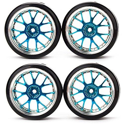 Rc 1:10 Flat Racing Car Drift Car Blue Y Shape Hub Wheel Rim Smooth Tires Pack Of 4