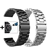 Gear S3 Frontier/Classic Watch Bands - 22mm Metal Stainless Steel Bracelet Strap for Gear S3 Frontier SM-R770 / Classic SM-R760+Tempered Glass (Black Metal Band + Silver Metal Band) (Color: Metal Black+Silver)