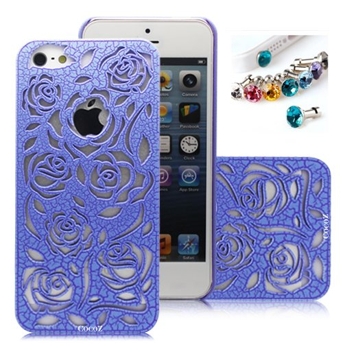 #1  Cocoz®romantic Blue Roses Carved Palace Fashion Design Hard Case Cover Skin Protector for Iphone 5 At&t Sprint Verizon Retail Packing(pc) -H011