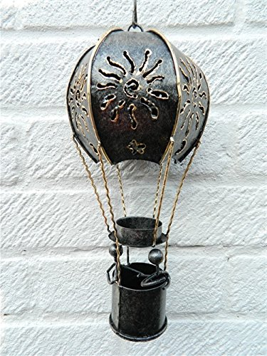 Hot Air Balloon Hanging Metal Tea light T Lite Candle Holder Garden Lantern - Silver Balloon 25cm Tealight