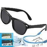 Kids Sunglasses Polarized kds Sunglasses Girls Baby Sunglasses Boys Age 4-10 (Color: Rubberized Black  Black Lens, Tamaño: 4.84)
