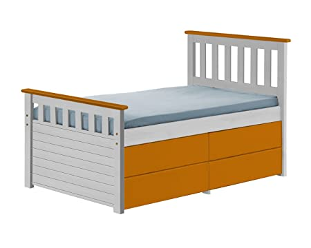 Design Vicenza Captains Short Ferrara Storage Bed 3ft White With Orange Details
