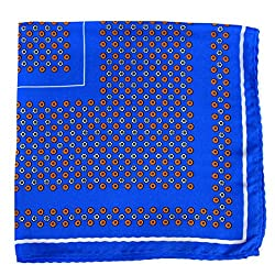 PS-A-600 - Silk Pocket Square - Blue - Orange - Green