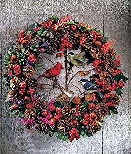 Lighted Fiber Optic Country Cardinal Blue Jay Winter Birds Acorns Berries Pine Cone Primitive Wreath Decor Door Wall Hanging Christmas Home Accent Decoration