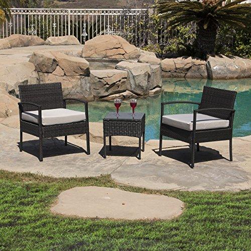 Bellezza© 3 PCS Cushioned Outdoor Wicker Patio Set Garden Lawn Sofa Furniture Seat, Black