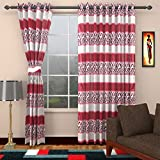 Ajay Furnishings 3 Piece Polyester Stripe Window Curtain - 5 ft, Purple
