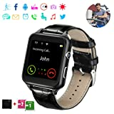 Smart Watch,Bluetooth Smart Watch,Touch Screen Watch,Multi-Function Watch,Sport Smart Watch with SIM Card for Man Woman Child,Support Message, Pedometers, Sleep Monitoring, etc. Support iOS, Android (Color: Black)