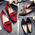 YHC 2015 Womens Lady Leisure Soft Sweet Series Bow Suede Pointed Flat Shoes Colour Red wine 38 Size