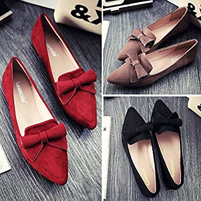 YHC 2015 Womens Lady Leisure Soft Sweet Series Bow Suede Pointed Flat Shoes Colour Black 38 Size