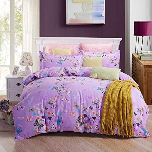 HlA Set di Set di quattro pezzi di biancheria da letto Il cotone quattro pezzi letto doppio foglio Copripiumino Biancheria da letto Set di quattro addensato , viola spessa ,2,0M Shimmy Butterfly (6.6 ft) Letto