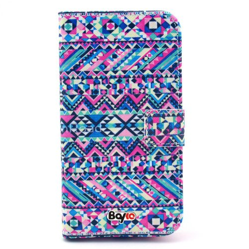 Bayke Brand / Samsung Galaxy S3 Siii (At&T / Verizon / Us Cellular / Sprint / T-Mobile / Unlocked) Pu Leather Wallet Type Flip Case Cover With Credit Card Holder Slots (Geometrical Figure Drawing Aztec Tribal Print)