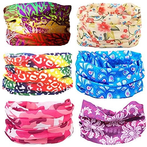 Cool Oringinal Design 6 Pack Head Band Bandana Protective Multi-use Seamless Breathable Neck and Head Tube Gaiter. Can Be Used As Neck Warmer, Headband, Bandana, Wristband, Balaclava, Headwrap. For Outdoor Activities Like Fishing Hunting Golf Camping Hiki