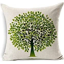 "HomeChoice Cotton Linen Durable Home Lifeful Green Tree Square Decorative Throw Pillow Cover Accent Cushion Cover Pillow Shell Bed Pillow Case 18 By 18 Inches (18""X18"")"