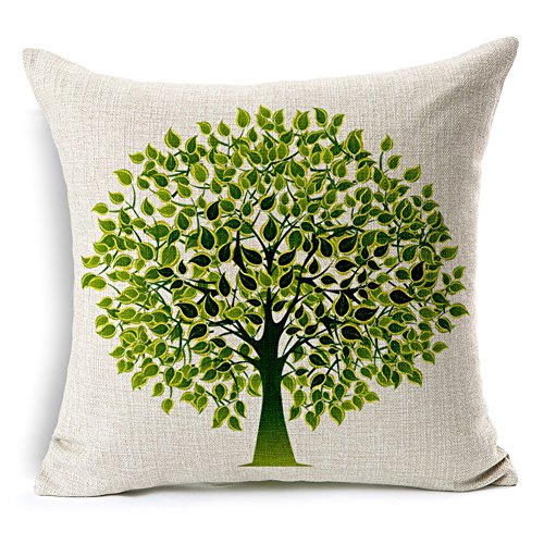 "HomeChoice Cotton Linen Durable Home Lifeful Green Tree Square Decorative Throw Pillow Cover 18 By 18 Inches (18""X18"")"
