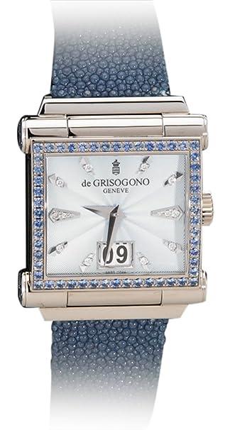 "De Grisogono 18K Solid White Gold ""Grande"" Unisex Watch w/Blue Sapphires"