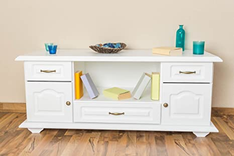 Dresser solid pine wood, in a white paint finish Pipilo 17 - Dimensions 58 x 139 x 54 cm