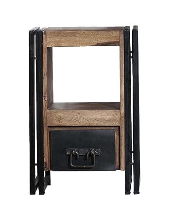 SIT-Mötbel 9254-01 Panama Commode avec 1e tiroir ouvert Apparence bois usé et métal antique Shesham 40 x 30 x 60cm