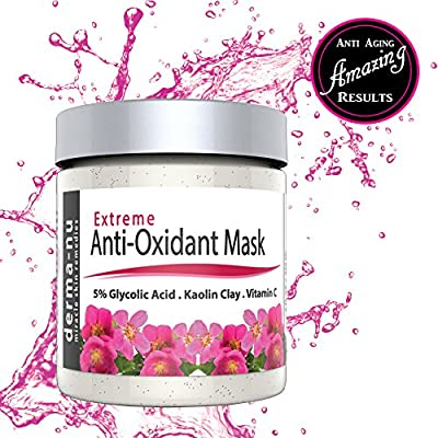 BEST GLYCOLIC ACID FACIAL MASK to reduce wrinkles, blemishes, blackheads & pore minimizer. Premium Deep Cleansing Beauty Treatment for all skin types. All Natural & Organic Green Tea, Vitamin C & Aloe