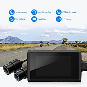 Motorcycle Recording Camera System by HaloCam, 1080P Dual Lens Dash Cam Dvr, Rear View Sports Action Camera, Waterproof Video Driving Recorder with WiFi & GPS, 2.7 LCD, 155 Degree Angle, 256G Max