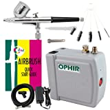 Ophir Portable Mini Airbrush Air Compressor Kit Dual Action Airbrush Set with Cleaning Brush Adjustable Spray Gun for Hobby Model Crafts (Grey)