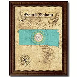 South Dakota State Vintage Map Flag Art Custom Picture Frame Office Wall Home Decor Cottage Shabby Chic Gift Ideas