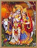 Lord Krishna / Shree Krishna / Shri Krishna with Radha / Radha-Krishna Poster (Size: 22X28 cm Unframed)