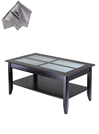Syrah Coffee Table with Frosted Glass and With Chanasya Polish Cloth