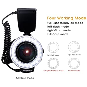 PLOTURE Flash Light with LCD Display Adapter Rings and Flash Diff-Users for Canon Nikon and Other DSLR Cameras (Color: Bronze)