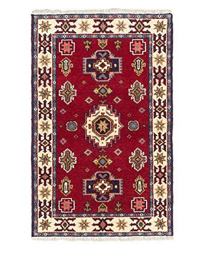 Hand-Knotted Royal Kazak Wool Rug, Cream/Dark Red, 3' 2 x 5'
