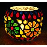 Rajasthani Handpainted Work Design Glass Votive Candle Holder 3 Inches