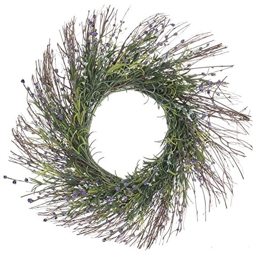 Factory Direct Craft® Artificial Grass and Lavender Wildflower Twig Wreath for Home Decor, Displaying and Designing