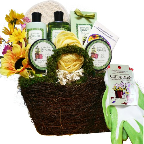 Art of Appreciation Gift Baskets Gardeners Hand and Body Relief Green Tea Spa Bath and Body Set (Gardening Gift Basket compare prices)