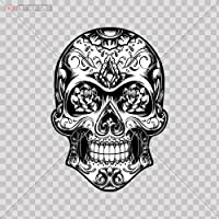 Decal Sticker Skull Design Logo Car Window Wall Art Decor Doors Helmet Truck Motorcycle Note Book Mobile Laptop Size: 4 X 2.8 Inches Vinyl color print by DT-Stickers