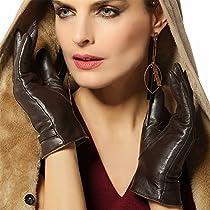 WARMEN Luxury Handsewn Nappa Leather Winter Super Warm Gloves (M, Brown)