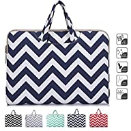 Laptop Briefcase, Mosiso 12-inch Chevron Blue Canvas Fabric Briefcase Carry Case for The New MacBook…