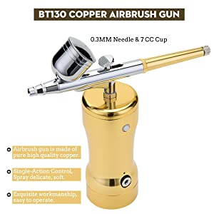 Airbrush Kit, Fy-Light Single-Action Cordless Air Brush Gun with 0.3MM Needle 7 CC Cup Rechargeable Mini Air Compressor for Makeup, Hobby, Craft, Cake Decorating, Tattoo (Color: Gold, Tamaño: 130 Gun+0.3M Needle)