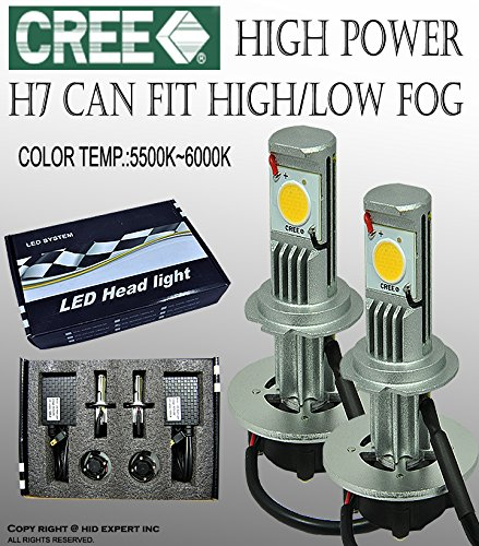 Cree Led H7 Fog Light Plasma Projector Bulbs W/ No Error Decoder Cable
