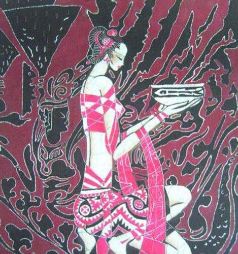 "Batik Folk Art Painting 16x19"" Miao Hmong Artist #437B"
