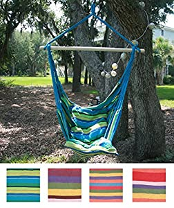 Tropical Stripe Hanging Rope Chair Hammock Swing +Two Lightweight Pillows+Wooden Stretcher Bar+Color+Caribbean Calm+220LBS by Breeze Hammocks™