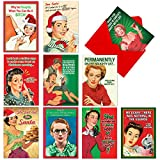 A1255 NAUGHTY IS NICE: Assorted Box Of 10 Hilarious Christmas Cards, W/12 Envelopes (10 Designs, 1 Card Per Design)