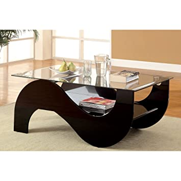 Furniture of America Riona Tempered Glass Curved Coffee Table -