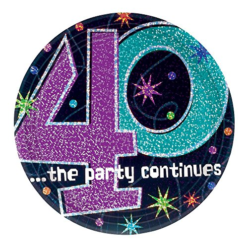 Party Continues 40th 7in Plate by CoolGlow